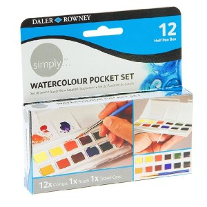 """Watercolor set """"Pocket"""" Daler-Rowney SIMPLY, small cuvettes, 12 colors"""