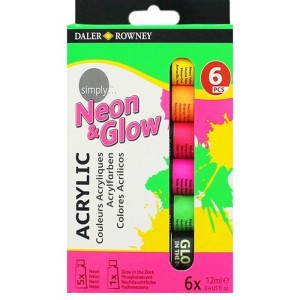 Daler-Rowney Simply Acrylic Paint Set 6 X 12 ml  neon & glow Color Tubes