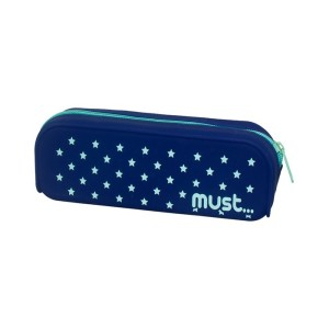 MUST SILICONE PENCIL POUCH FOCUS STARS AND HEARTS 4 COLORS
