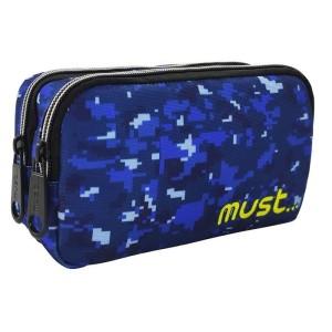 MUST PENCIL CASES 20Χ6Χ9 2ZIPPER ARMY BLUE