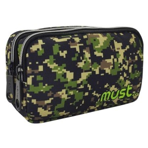 MUST PENCIL CASES 20Χ6Χ9 2ZIPPER ARMY KHAKI