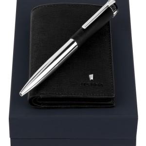 FESTINA Set Card holder with flap Chronobike Black + Ballpoint pen Prestige Chrome Black