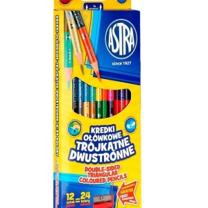 ASTRA Two-sided triangular colored pencils12=24 colors