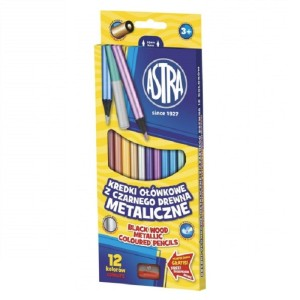 ASTRA Metallic round coloured pencils - 12 colors with sharpener