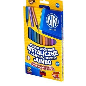 ASTRA Jumbo metallic round coloured pencils - 12 colors with sharpener
