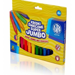 ASTRA Super jumbo triangular crayons 12 colors - 14mm/100mm