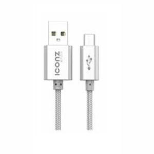 Iconz XBR05S Bazix Aluminum Micro USB Cable, 2.1 Ampere - Silver