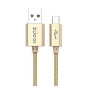 Iconz XBR05S Bazix Aluminum Micro USB Cable, 2.1 Ampere - Gold