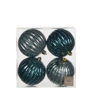 Christmas Ornament ball petrol l. green 4 pieces - d8cm