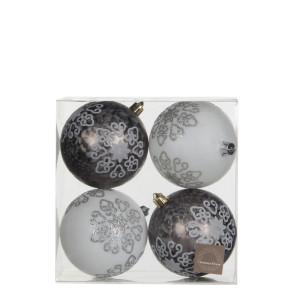 Christmas Ornament ball white grey 4 pieces - d8cm