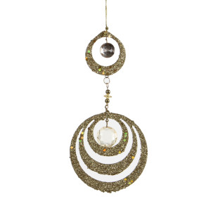 Christmas Ornament Round Drop W9.5H19 Gold