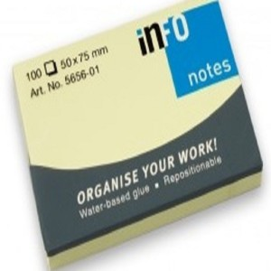 INFO Yellow Sticky Notes 50 X 75 MM