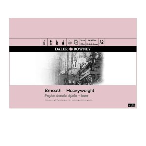 Daler Rowney Smooth Heavyweight Cartridge Pad 220gsm 25 Sheets A2