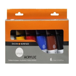 Daler Rowney Simply Acrylic Paint Set - 6 x 75 ml Tubes