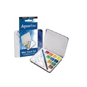 Daler Rowney Aquafine mini travel set. Tin of 10 watercolor half pans + brush