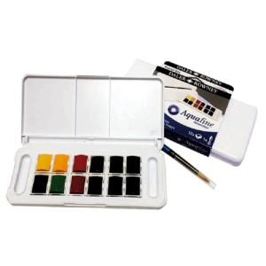 Daler Rowney Aquafine Watercolor Half Pan Travel Set of 12