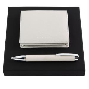 HUGO BOSS HPBC704K Set Storyline Light Grey (ballpoint pen & card holder)