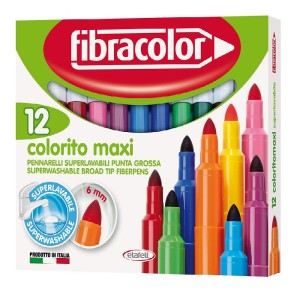 ETAFELT Fibracolor Colorito Maxi Broad Point Fiber Colouring Pens Pack of 12