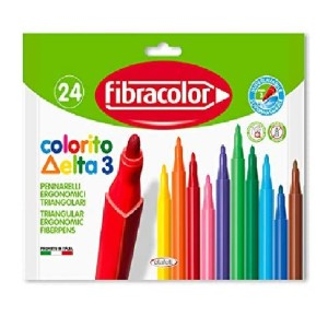 ETFELT Fibracolor Colorito Delta 3 Pack of 24 Triangular Markers Fine Tip 3 mm